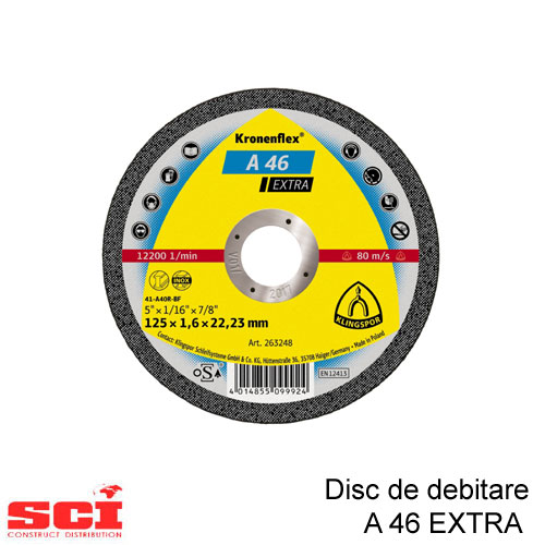 Disc debitare Klingspor, A 46 Extra, 115 x 1,6 x 22,23 mm
