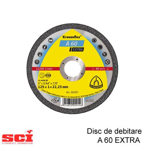 Disc debitare Klingspor, A 60 Extra,125 x 1 x 22,23 mm