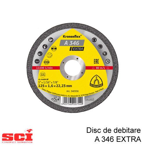 Disc de debitare Klingspor, A 346 Extra, 125 x 1,6 x 22,23 mm