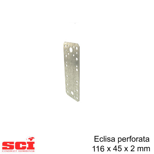 Eclisa perforata imbinare lemn 116 x 45 x 2 mm