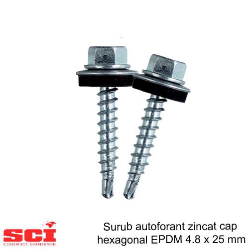 Surub autoforant zincat cap hexagonal EPDM metal 4.8 x 25 mm