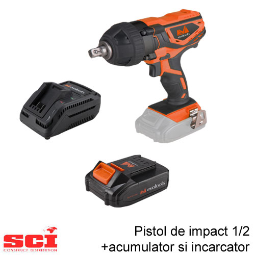 Pachet pistol impact 1/2 + acumulator + incarcator